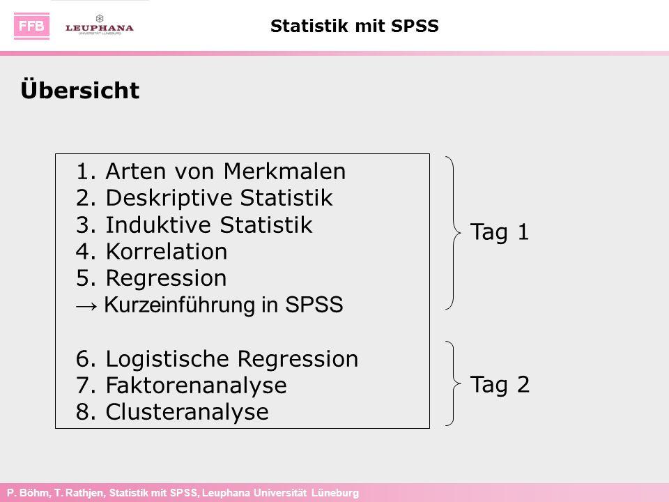 P. Böhm, T. Rathjen, Statistik mit SPSS, Leuphana Universität Lüneburg Statistik mit SPSS 1. Arten von Merkmalen 2. Deskriptive Statistik 3. Induktive
