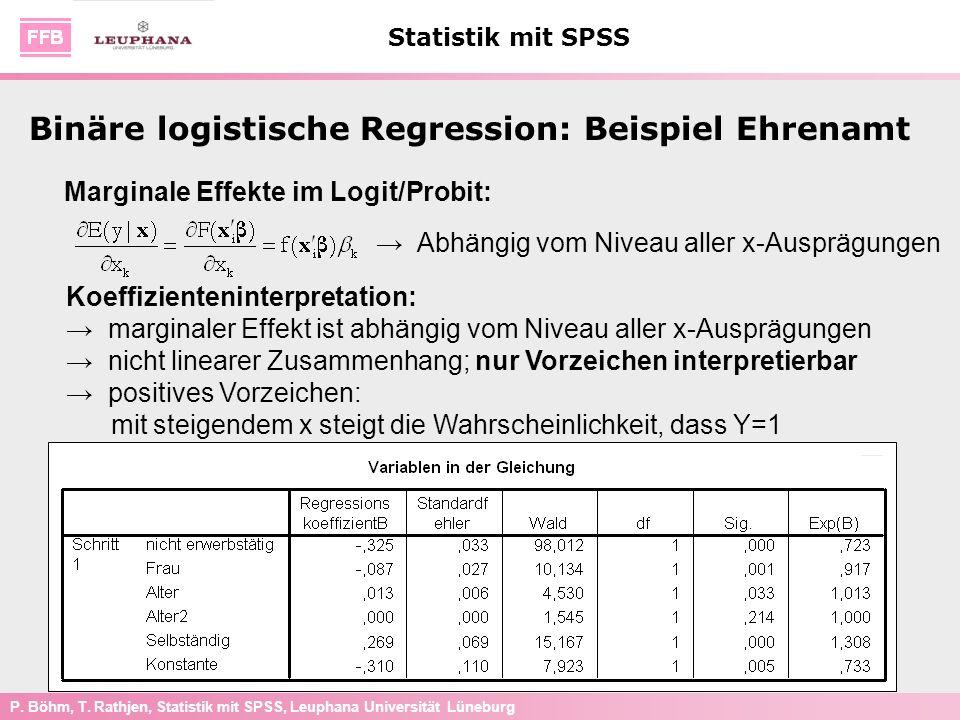 P. Böhm, T. Rathjen, Statistik mit SPSS, Leuphana Universität Lüneburg Statistik mit SPSS Marginale Effekte im Logit/Probit: Abhängig vom Niveau aller