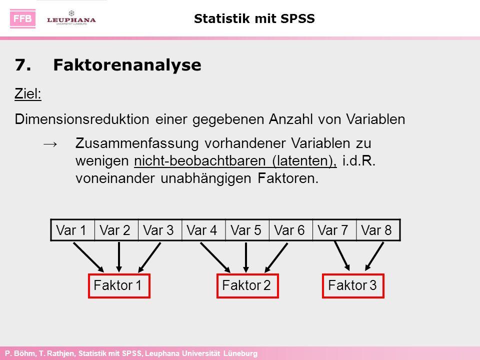 P. Böhm, T. Rathjen, Statistik mit SPSS, Leuphana Universität Lüneburg Statistik mit SPSS 7.Faktorenanalyse Ziel: Dimensionsreduktion einer gegebenen