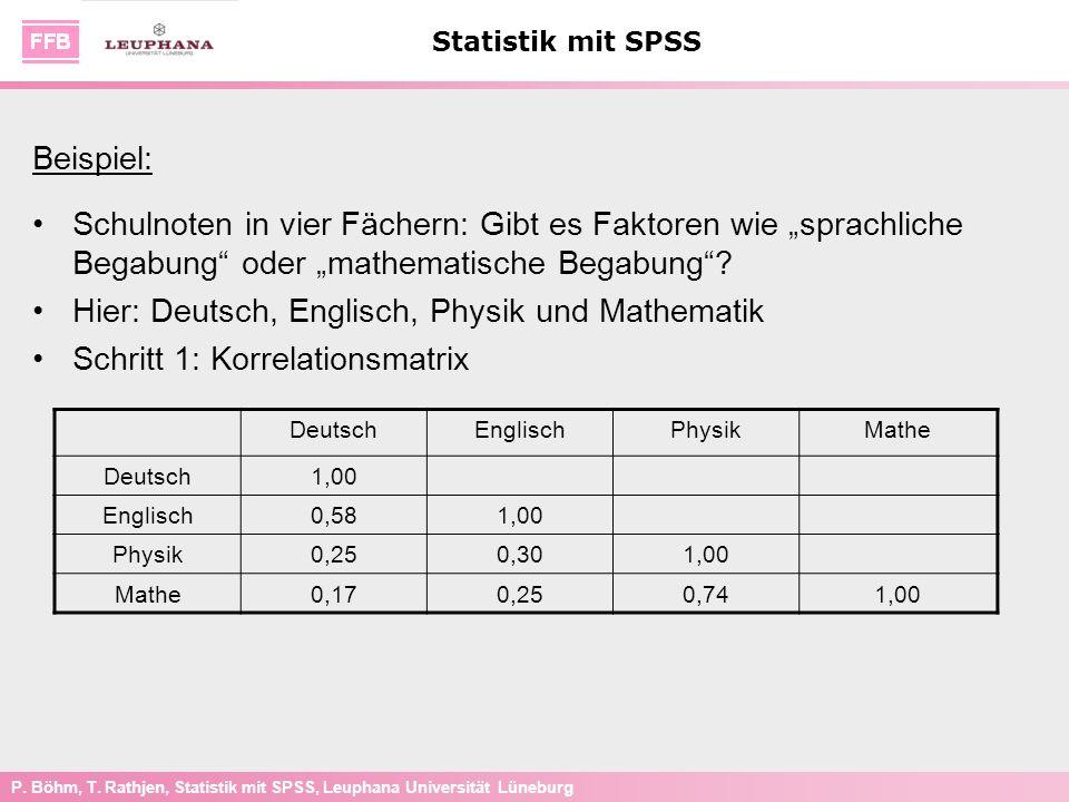 P. Böhm, T. Rathjen, Statistik mit SPSS, Leuphana Universität Lüneburg Statistik mit SPSS Beispiel: Schulnoten in vier Fächern: Gibt es Faktoren wie s