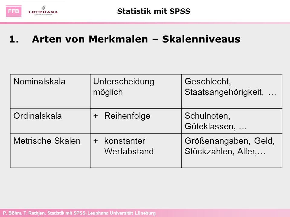 P. Böhm, T. Rathjen, Statistik mit SPSS, Leuphana Universität Lüneburg Statistik mit SPSS 1.Arten von Merkmalen – Skalenniveaus Nominalskala Ordinalsk