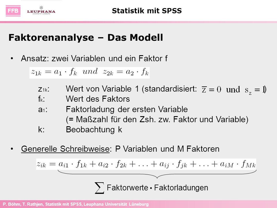 P. Böhm, T. Rathjen, Statistik mit SPSS, Leuphana Universität Lüneburg Statistik mit SPSS Faktorenanalyse – Das Modell Ansatz: zwei Variablen und ein