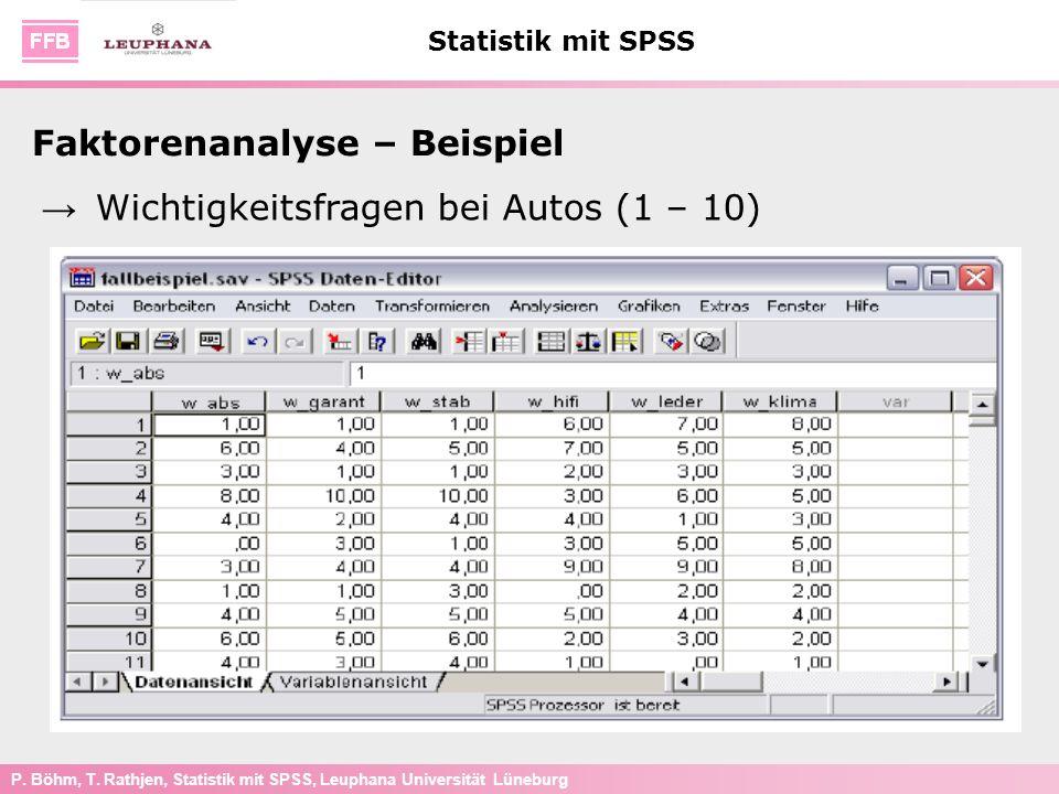 P. Böhm, T. Rathjen, Statistik mit SPSS, Leuphana Universität Lüneburg Statistik mit SPSS Faktorenanalyse – Beispiel Wichtigkeitsfragen bei Autos (1 –