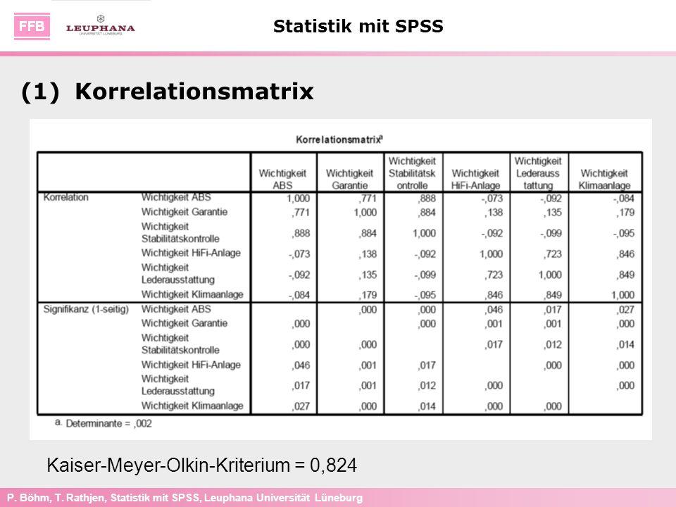 P. Böhm, T. Rathjen, Statistik mit SPSS, Leuphana Universität Lüneburg Statistik mit SPSS (1)Korrelationsmatrix Kaiser-Meyer-Olkin-Kriterium = 0,824