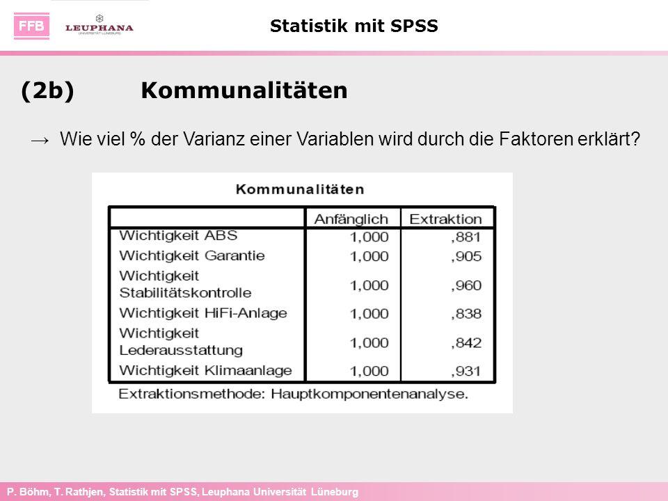 P. Böhm, T. Rathjen, Statistik mit SPSS, Leuphana Universität Lüneburg Statistik mit SPSS (2b)Kommunalitäten Wie viel % der Varianz einer Variablen wi