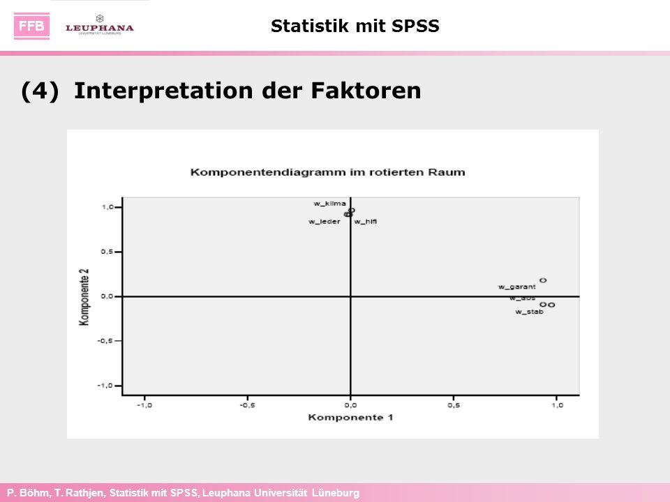 P. Böhm, T. Rathjen, Statistik mit SPSS, Leuphana Universität Lüneburg Statistik mit SPSS (4)Interpretation der Faktoren