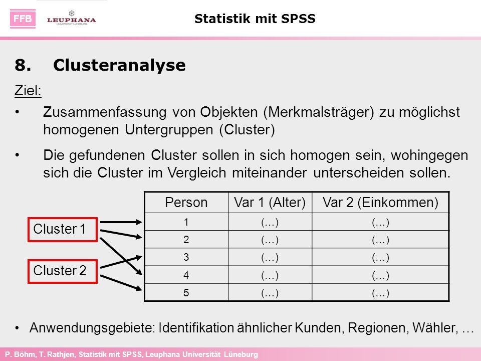 P. Böhm, T. Rathjen, Statistik mit SPSS, Leuphana Universität Lüneburg Statistik mit SPSS 8.Clusteranalyse Ziel: Zusammenfassung von Objekten (Merkmal
