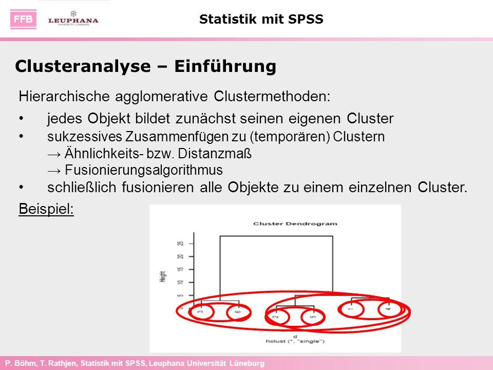 P. Böhm, T. Rathjen, Statistik mit SPSS, Leuphana Universität Lüneburg Statistik mit SPSS Clusteranalyse – Einführung Hierarchische agglomerative Clus