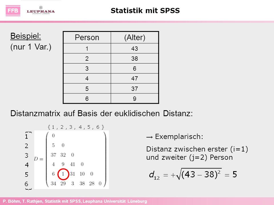 P. Böhm, T. Rathjen, Statistik mit SPSS, Leuphana Universität Lüneburg Statistik mit SPSS Exemplarisch: Distanz zwischen erster (i=1) und zweiter (j=2
