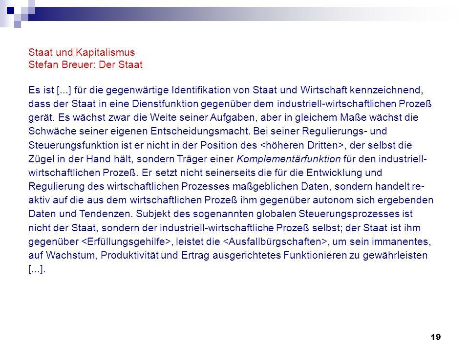 19 Staat und Kapitalismus Stefan Breuer: Der Staat Es ist [...] für die gegenwärtige Identifikation von Staat und Wirtschaft kennzeichnend, dass der S