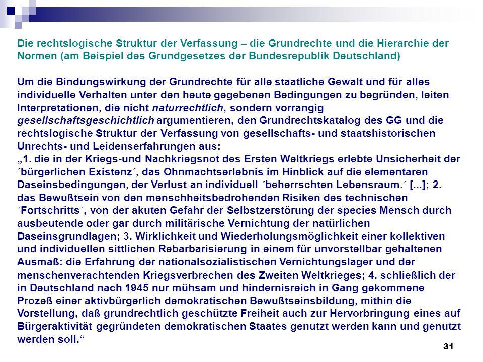 31 Die rechtslogische Struktur der Verfassung – die Grundrechte und die Hierarchie der Normen (am Beispiel des Grundgesetzes der Bundesrepublik Deutsc