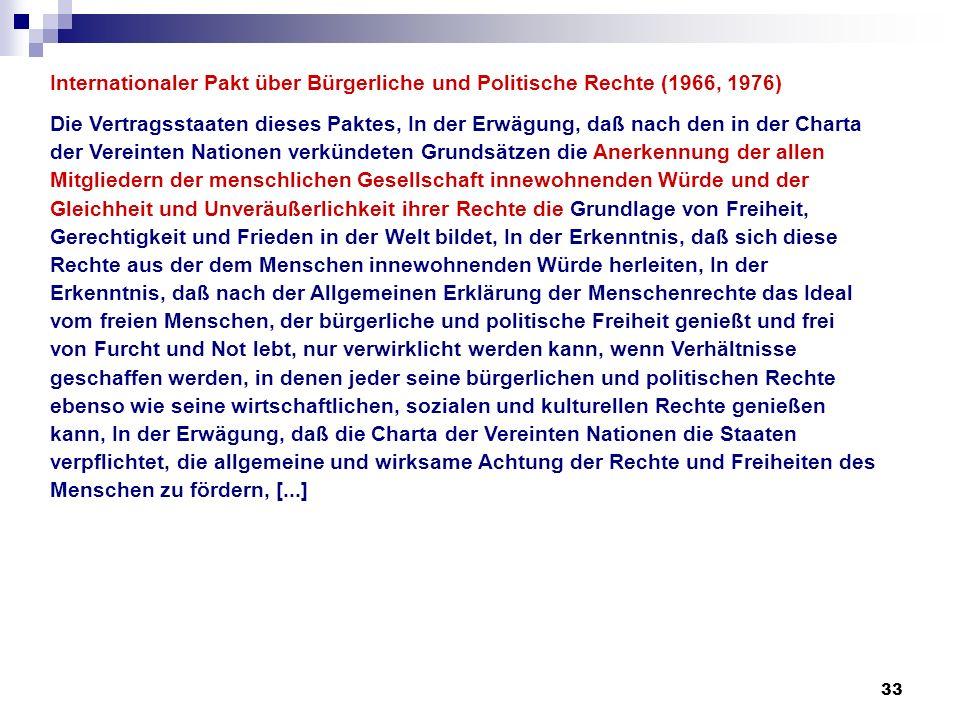 33 Internationaler Pakt über Bürgerliche und Politische Rechte (1966, 1976) Die Vertragsstaaten dieses Paktes, In der Erwägung, daß nach den in der Ch