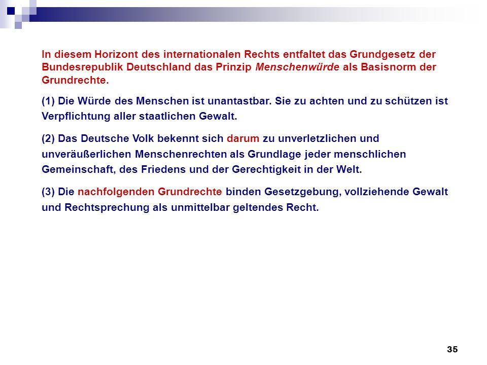 35 In diesem Horizont des internationalen Rechts entfaltet das Grundgesetz der Bundesrepublik Deutschland das Prinzip Menschenwürde als Basisnorm der