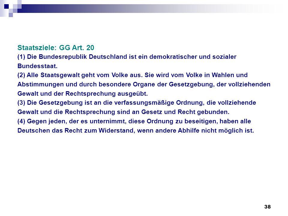 38 Staatsziele: GG Art. 20 (1) Die Bundesrepublik Deutschland ist ein demokratischer und sozialer Bundesstaat. (2) Alle Staatsgewalt geht vom Volke au