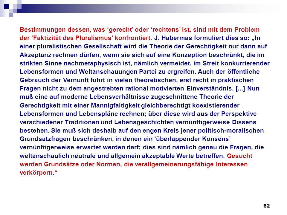 62 Bestimmungen dessen, was gerecht oder rechtens ist, sind mit dem Problem der Faktizität des Pluralismus konfrontiert. J. Habermas formuliert dies s