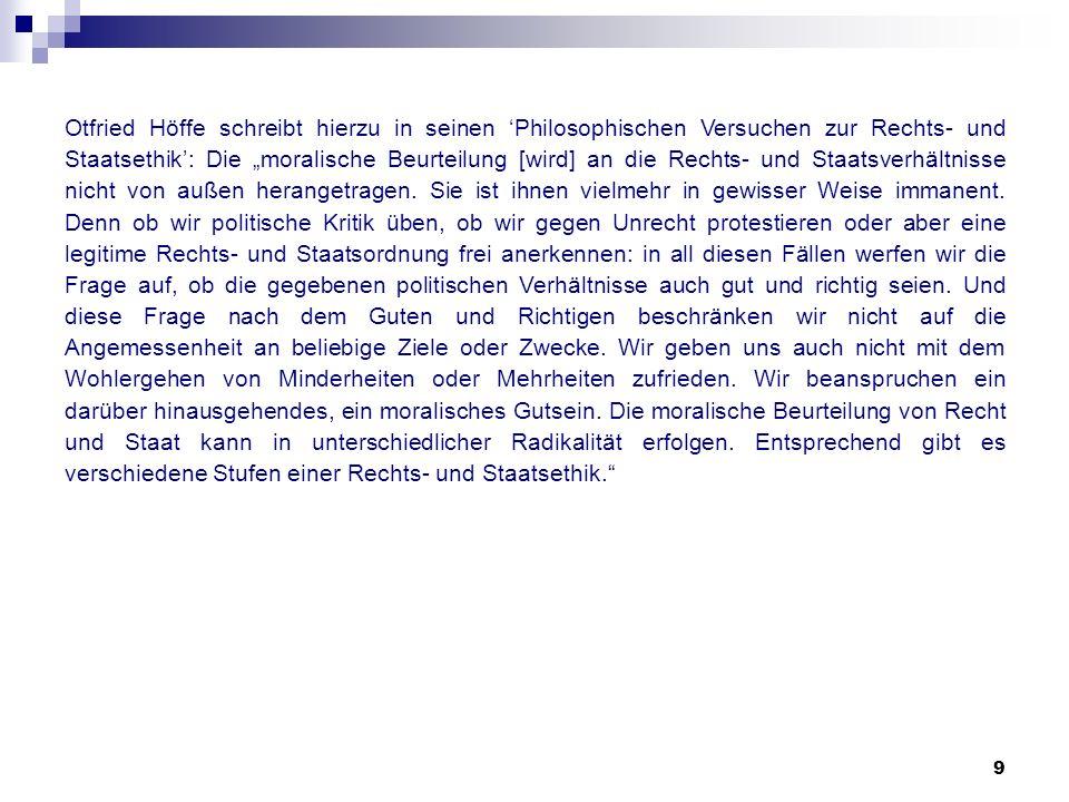 9 Otfried Höffe schreibt hierzu in seinen Philosophischen Versuchen zur Rechts- und Staatsethik: Die moralische Beurteilung [wird] an die Rechts- und
