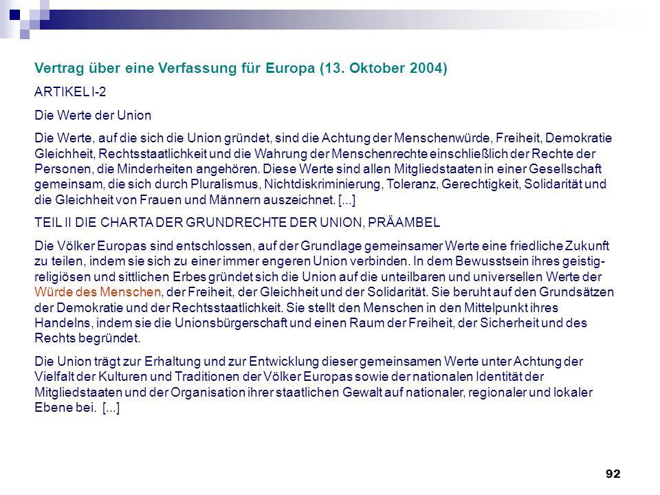 92 Vertrag über eine Verfassung für Europa (13. Oktober 2004) ARTIKEL I-2 Die Werte der Union Die Werte, auf die sich die Union gründet, sind die Acht