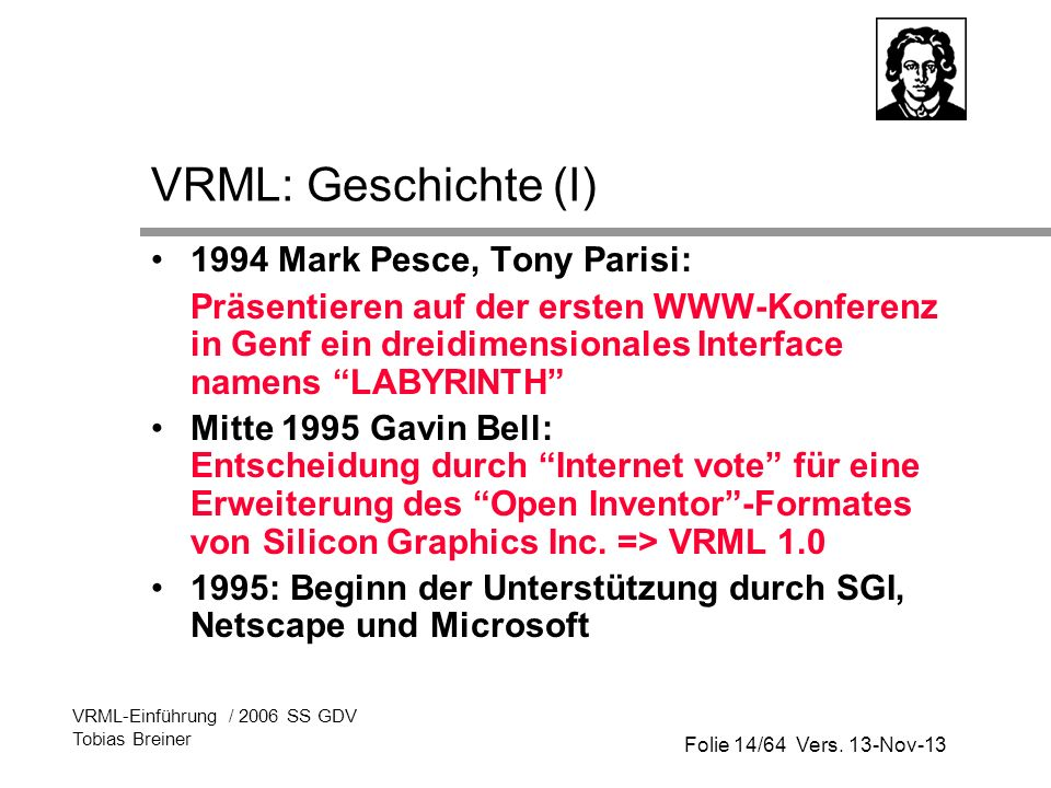 Folie 14/64 Vers. 13-Nov-13 VRML-Einführung / 2006 SS GDV Tobias Breiner VRML: Geschichte (I) 1994 Mark Pesce, Tony Parisi: Präsentieren auf der erste