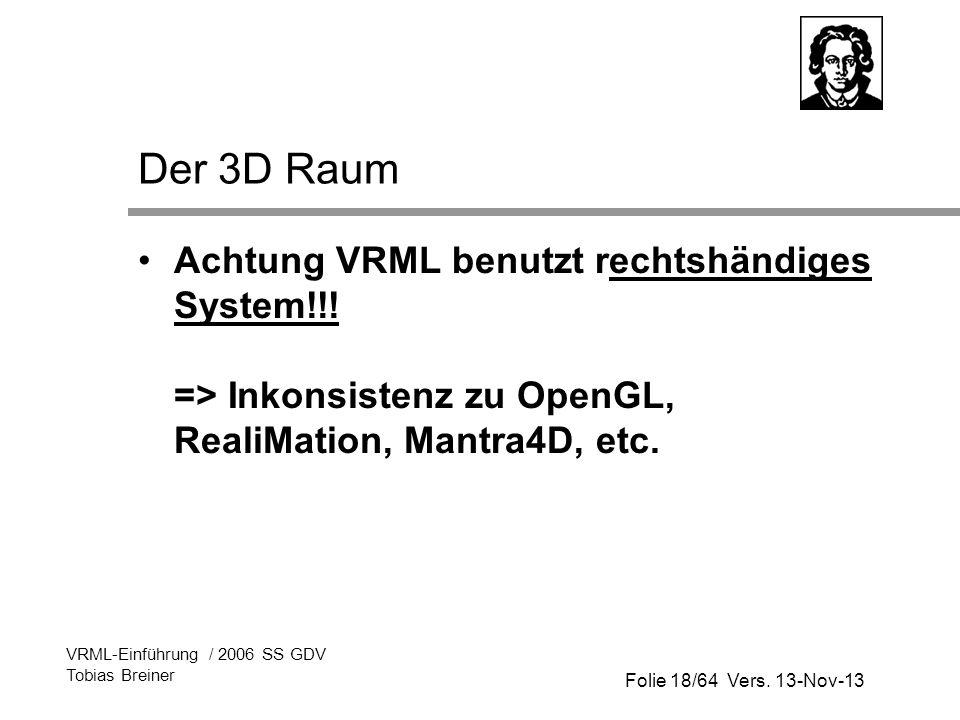 Folie 18/64 Vers. 13-Nov-13 VRML-Einführung / 2006 SS GDV Tobias Breiner Der 3D Raum Achtung VRML benutzt rechtshändiges System!!! => Inkonsistenz zu