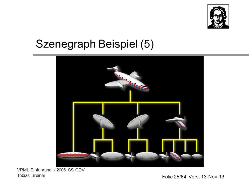 Folie 25/64 Vers. 13-Nov-13 VRML-Einführung / 2006 SS GDV Tobias Breiner Szenegraph Beispiel (5)