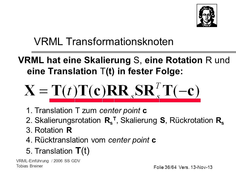 Folie 36/64 Vers. 13-Nov-13 VRML-Einführung / 2006 SS GDV Tobias Breiner VRML Transformationsknoten VRML hat eine Skalierung S, eine Rotation R und ei