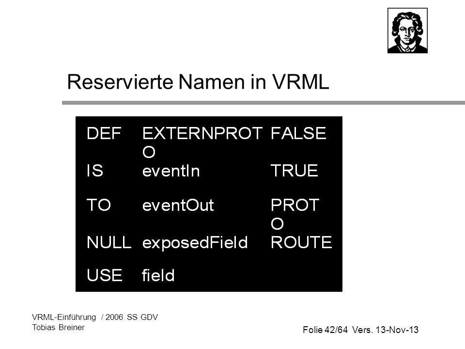 Folie 42/64 Vers. 13-Nov-13 VRML-Einführung / 2006 SS GDV Tobias Breiner Reservierte Namen in VRML