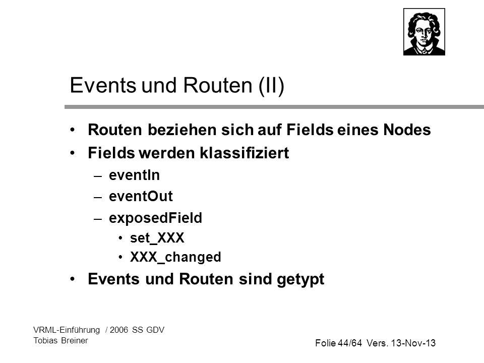 Folie 44/64 Vers. 13-Nov-13 VRML-Einführung / 2006 SS GDV Tobias Breiner Events und Routen (II) Routen beziehen sich auf Fields eines Nodes Fields wer