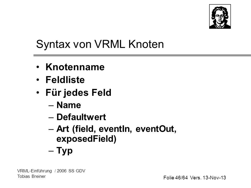 Folie 46/64 Vers. 13-Nov-13 VRML-Einführung / 2006 SS GDV Tobias Breiner Syntax von VRML Knoten Knotenname Feldliste Für jedes Feld –Name –Defaultwert