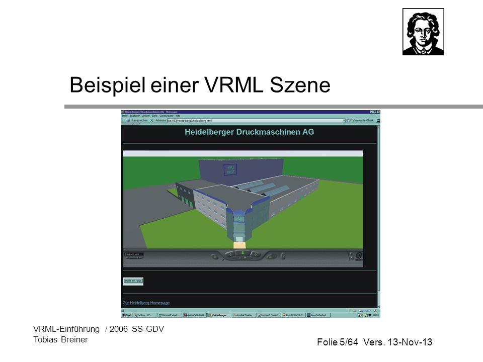 Folie 5/64 Vers. 13-Nov-13 VRML-Einführung / 2006 SS GDV Tobias Breiner Beispiel einer VRML Szene