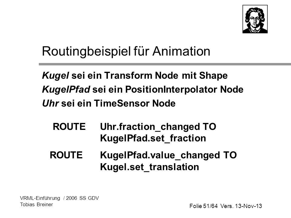 Folie 51/64 Vers. 13-Nov-13 VRML-Einführung / 2006 SS GDV Tobias Breiner Routingbeispiel für Animation Kugel sei ein Transform Node mit Shape KugelPfa