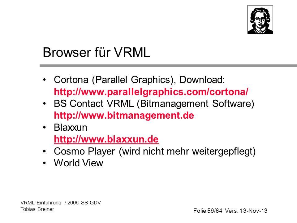 Folie 59/64 Vers. 13-Nov-13 VRML-Einführung / 2006 SS GDV Tobias Breiner Browser für VRML Cortona (Parallel Graphics), Download: http://www.parallelgr