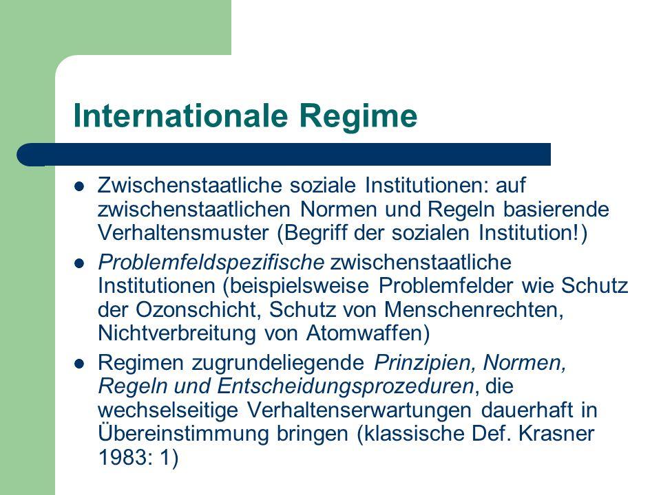Internationale Regime Zwischenstaatliche soziale Institutionen: auf zwischenstaatlichen Normen und Regeln basierende Verhaltensmuster (Begriff der soz