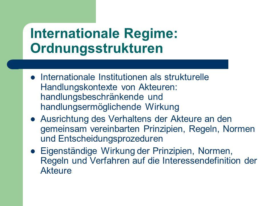 Internationale Regime: Ordnungsstrukturen Internationale Institutionen als strukturelle Handlungskontexte von Akteuren: handlungsbeschränkende und handlungsermöglichende Wirkung Ausrichtung des Verhaltens der Akteure an den gemeinsam vereinbarten Prinzipien, Regeln, Normen und Entscheidungsprozeduren Eigenständige Wirkung der Prinzipien, Normen, Regeln und Verfahren auf die Interessendefinition der Akteure