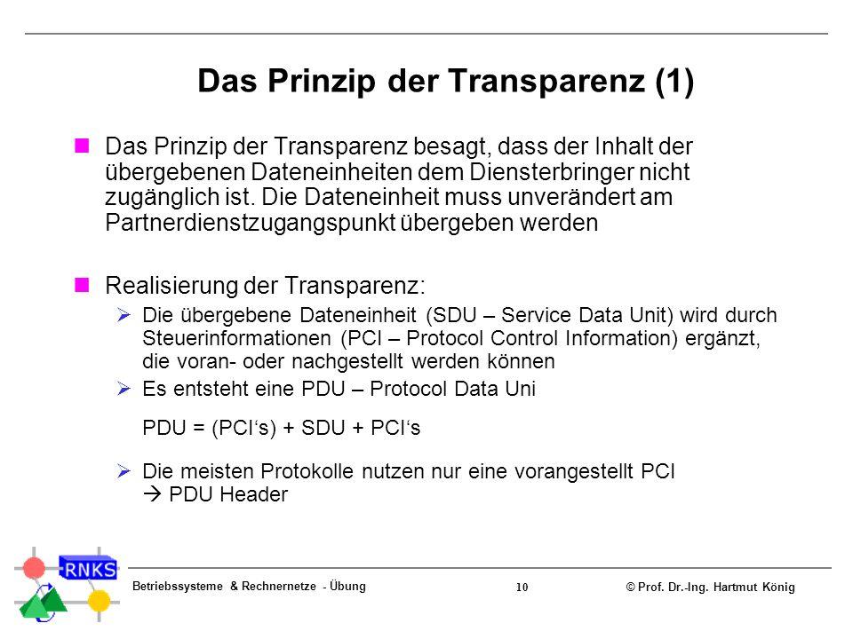 © Prof. Dr.-Ing. Hartmut König Betriebssysteme & Rechnernetze - Übung 10 Das Prinzip der Transparenz (1) Das Prinzip der Transparenz besagt, dass der
