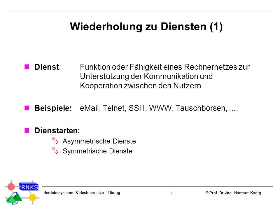 © Prof. Dr.-Ing. Hartmut König Betriebssysteme & Rechnernetze - Übung 2 Wiederholung zu Diensten (1) Dienst:Funktion oder Fähigkeit eines Rechnernetze