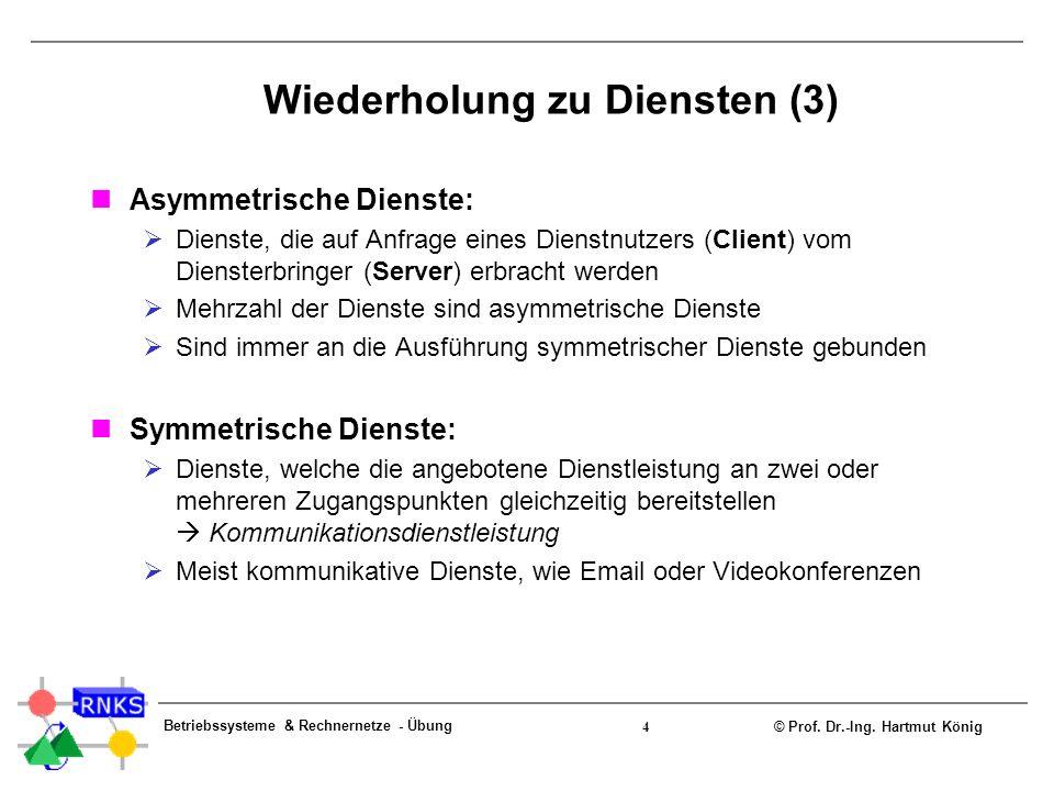 © Prof. Dr.-Ing. Hartmut König Betriebssysteme & Rechnernetze - Übung 4 Wiederholung zu Diensten (3) Asymmetrische Dienste: Dienste, die auf Anfrage e