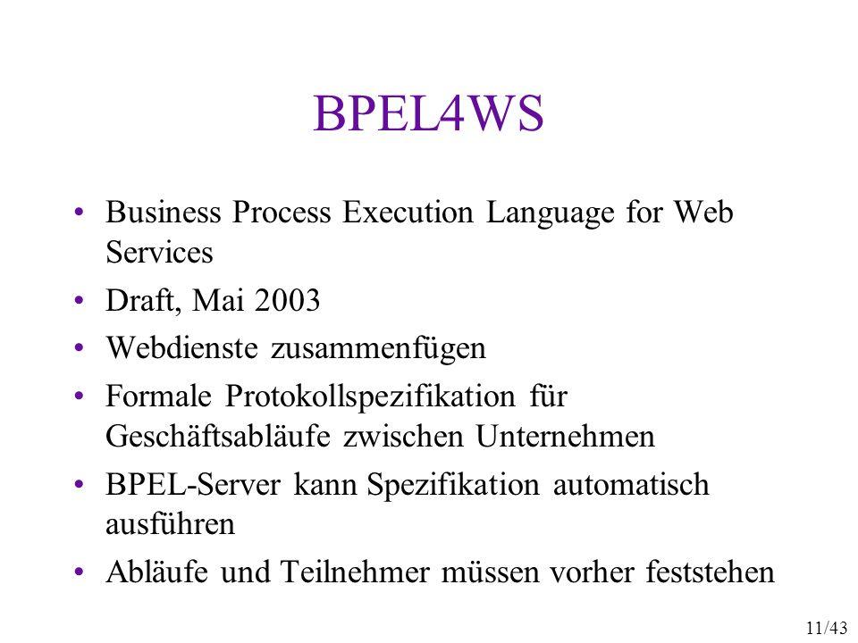11/43 BPEL4WS Business Process Execution Language for Web Services Draft, Mai 2003 Webdienste zusammenfügen Formale Protokollspezifikation für Geschäf