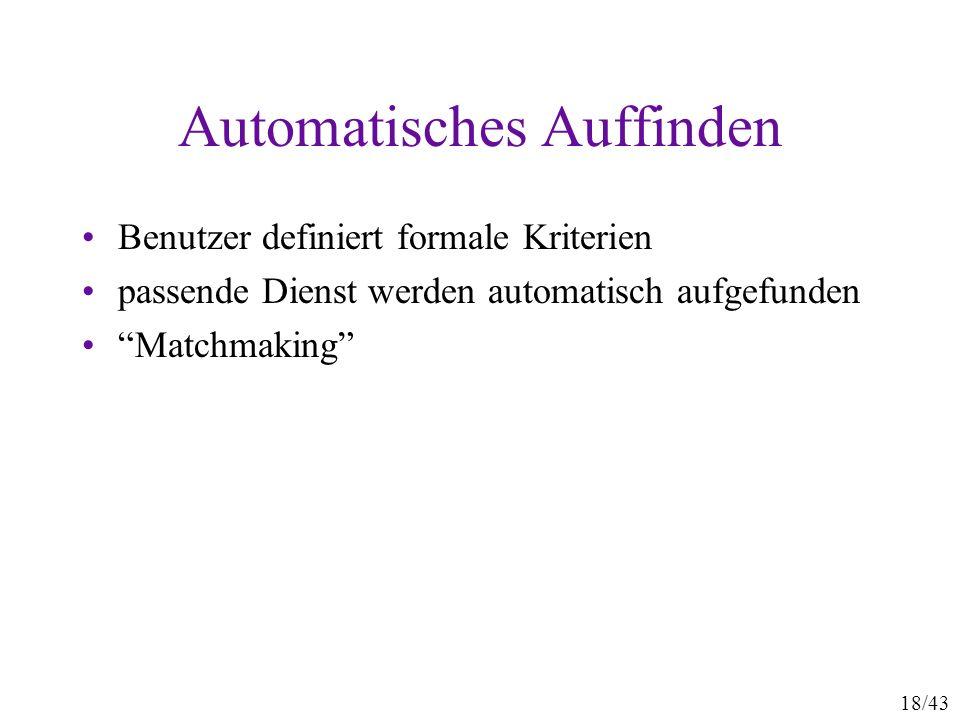 18/43 Automatisches Auffinden Benutzer definiert formale Kriterien passende Dienst werden automatisch aufgefunden Matchmaking