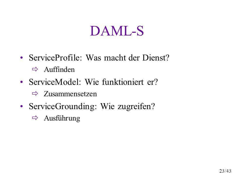 23/43 DAML-S ServiceProfile: Was macht der Dienst? Auffinden ServiceModel: Wie funktioniert er? Zusammensetzen ServiceGrounding: Wie zugreifen? Ausfüh