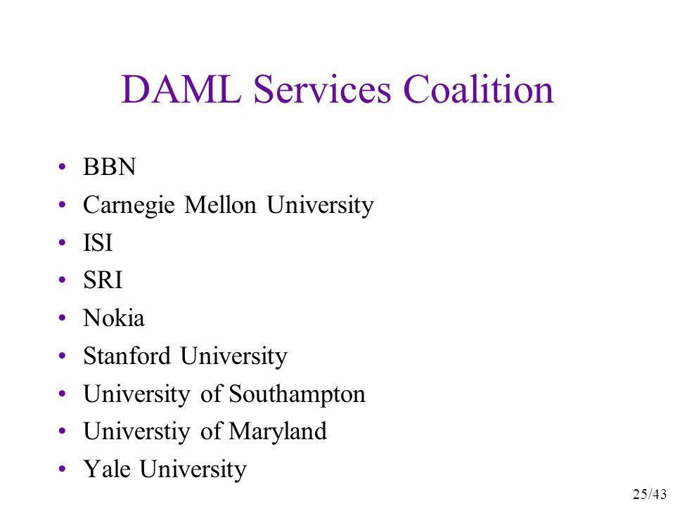 25/43 DAML Services Coalition BBN Carnegie Mellon University ISI SRI Nokia Stanford University University of Southampton Universtiy of Maryland Yale U