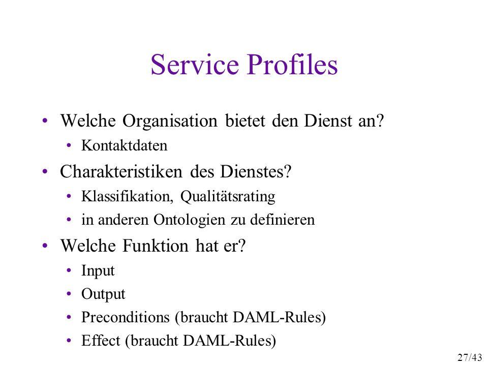 27/43 Service Profiles Welche Organisation bietet den Dienst an? Kontaktdaten Charakteristiken des Dienstes? Klassifikation, Qualitätsrating in andere