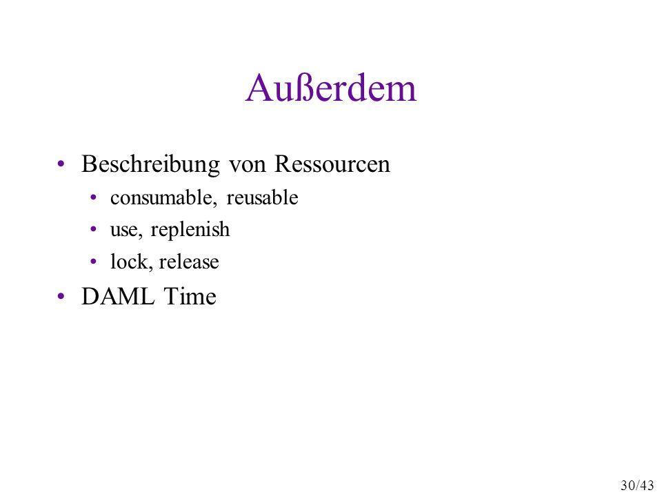30/43 Außerdem Beschreibung von Ressourcen consumable, reusable use, replenish lock, release DAML Time