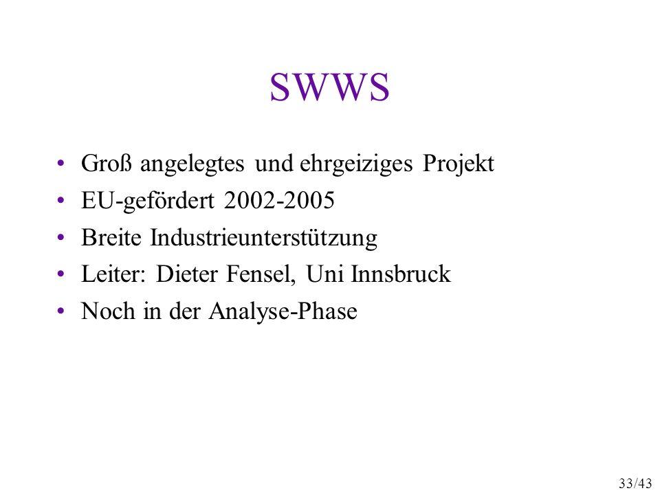 33/43 SWWS Groß angelegtes und ehrgeiziges Projekt EU-gefördert 2002-2005 Breite Industrieunterstützung Leiter: Dieter Fensel, Uni Innsbruck Noch in d