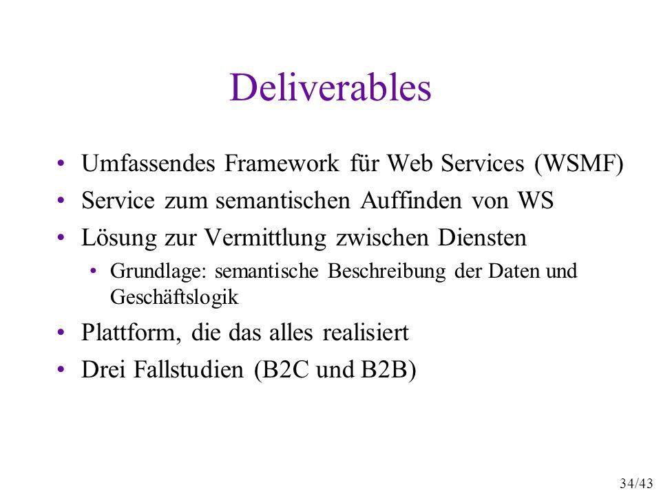 34/43 Deliverables Umfassendes Framework für Web Services (WSMF) Service zum semantischen Auffinden von WS Lösung zur Vermittlung zwischen Diensten Gr