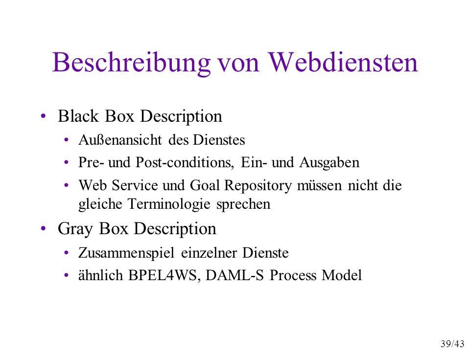 39/43 Beschreibung von Webdiensten Black Box Description Außenansicht des Dienstes Pre- und Post-conditions, Ein- und Ausgaben Web Service und Goal Re