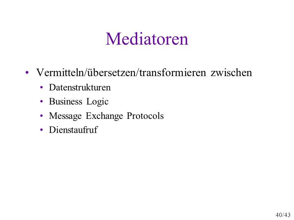 40/43 Mediatoren Vermitteln/übersetzen/transformieren zwischen Datenstrukturen Business Logic Message Exchange Protocols Dienstaufruf