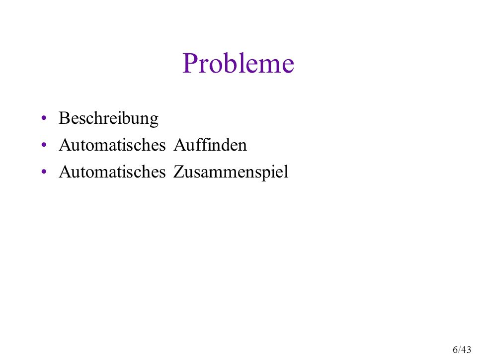 6/43 Probleme Beschreibung Automatisches Auffinden Automatisches Zusammenspiel