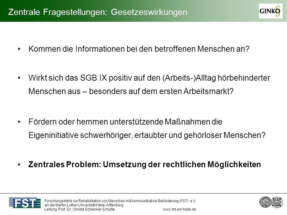 Forschungsstelle zur Rehabilitation von Menschen mit kommunikativer Behinderung (FST) e.V. an der Martin-Luther Universität Halle-Wittenberg Leitung: