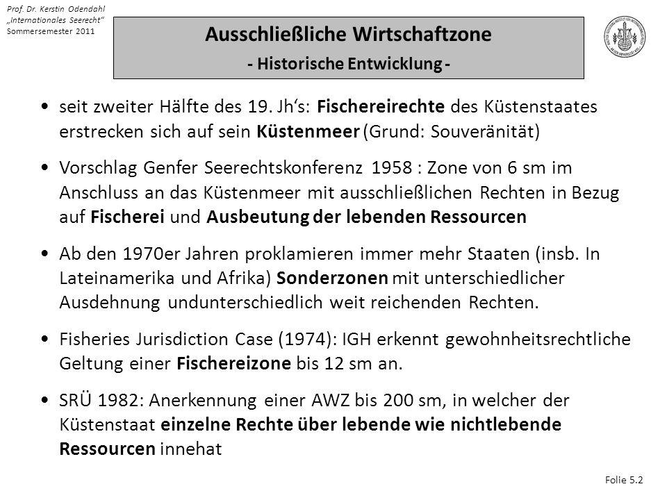 Folie 5.2 Prof. Dr. Kerstin Odendahl Internationales Seerecht Sommersemester 2011 Ausschließliche Wirtschaftzone - Historische Entwicklung - seit zwei