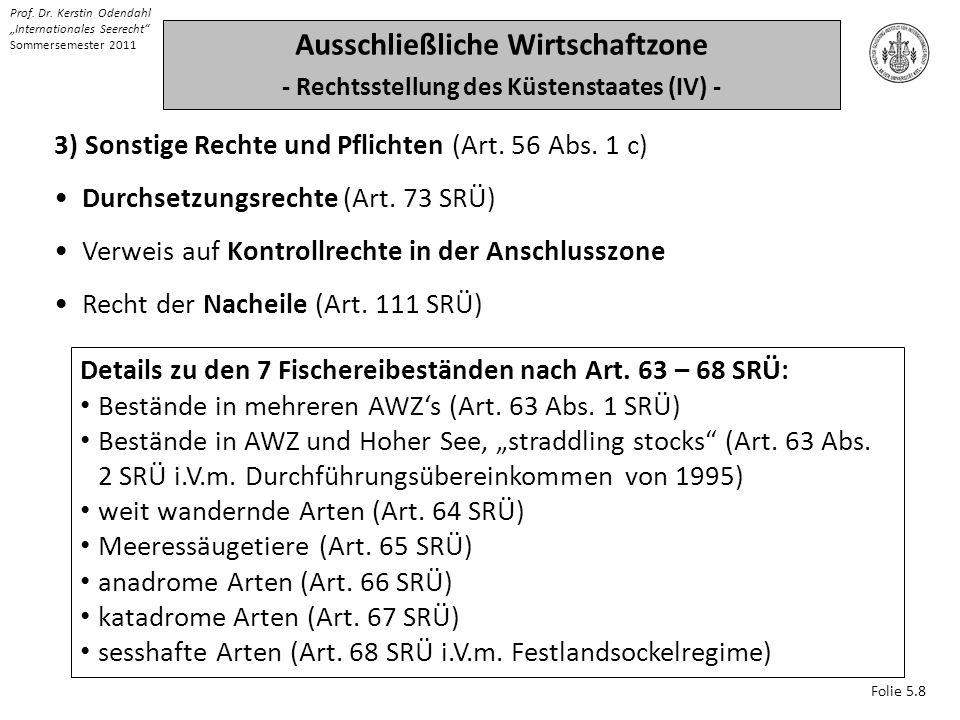 Folie 5.8 Prof. Dr. Kerstin Odendahl Internationales Seerecht Sommersemester 2011 Ausschließliche Wirtschaftzone - Rechtsstellung des Küstenstaates (I